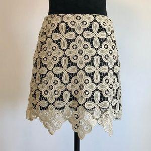 Kensie Crochet Knit Mini Skirt Black Beige Size 4